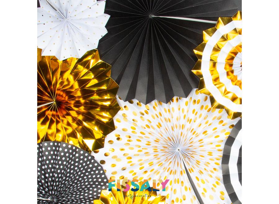 76 Stuks Goud, Zwart & Wit Decoratie Feestpakket