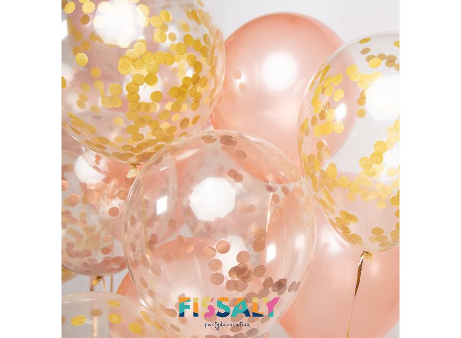 Fissaly® 60 stuks Rose Goud Helium Ballonnen Set met Lint