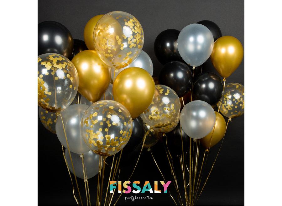 40 stuks Goud, Zwart,  Wit Helium Ballonnen met Lint