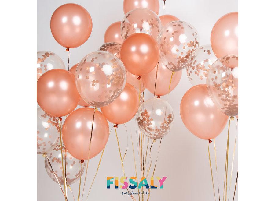 Fissaly® 40 stuks Rosé Goud Helium Ballonnen met Lint