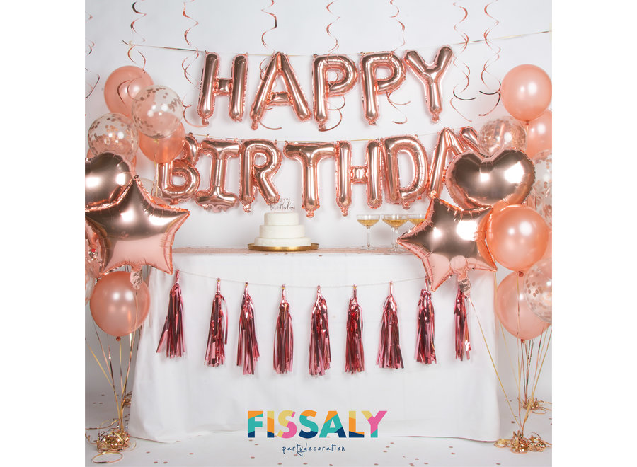 Fissaly® 44 Stuks Rose Goud Verjaardag Decoratie Versiering met Ballonnen