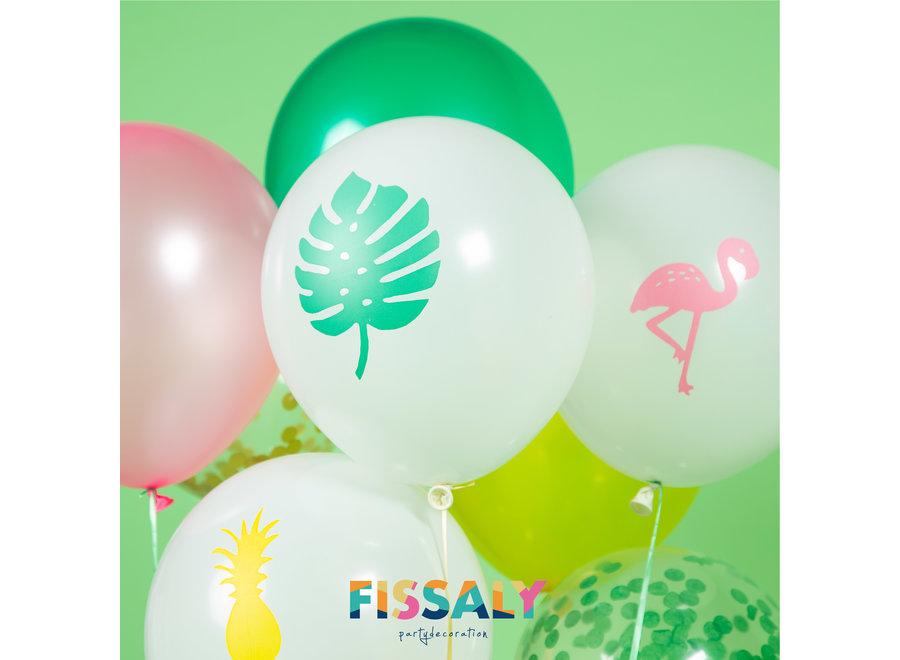 Fissaly® 45 Stuks Hawaii Tropical Party Decoratie – Flamingo, Ananas & Tropische Bladeren Versiering