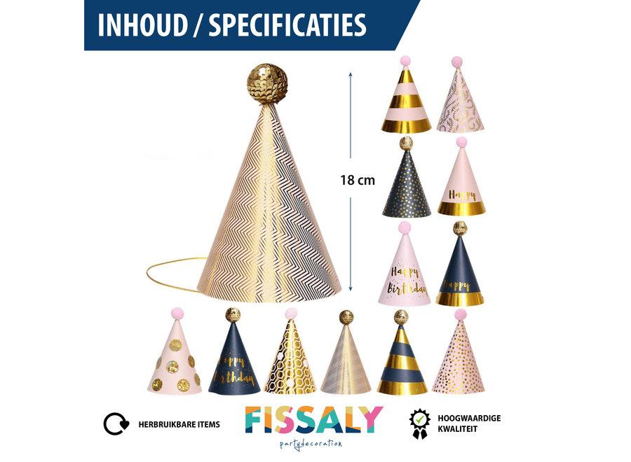Fissaly® 12 Stuks Happy Birthday Feesthoedjes - Papier – Goud, Roze & Zilver