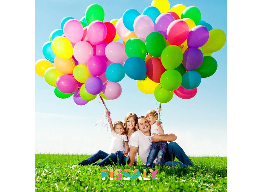 Fissaly® 120 Stuks Gekleurde Latex Helium Ballonnen met Accessoires - Multikleur