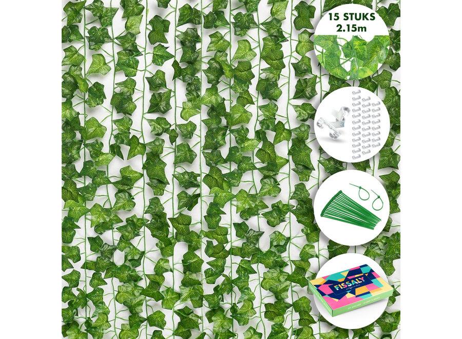 Fissaly® 15 Stuks Hedera Helix Klimop Slinger Versiering Set –  Kunstplant, Hangplant