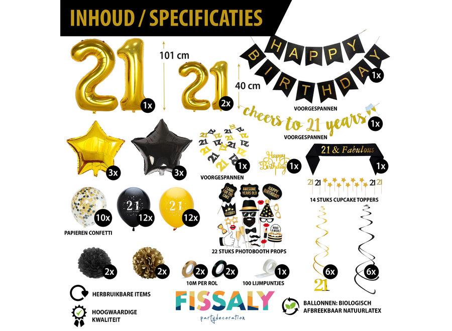 21 Jaar Zwart & Goud Verjaardag Decoratie Versiering - Helium, Latex & Papieren Confetti Ballonnen