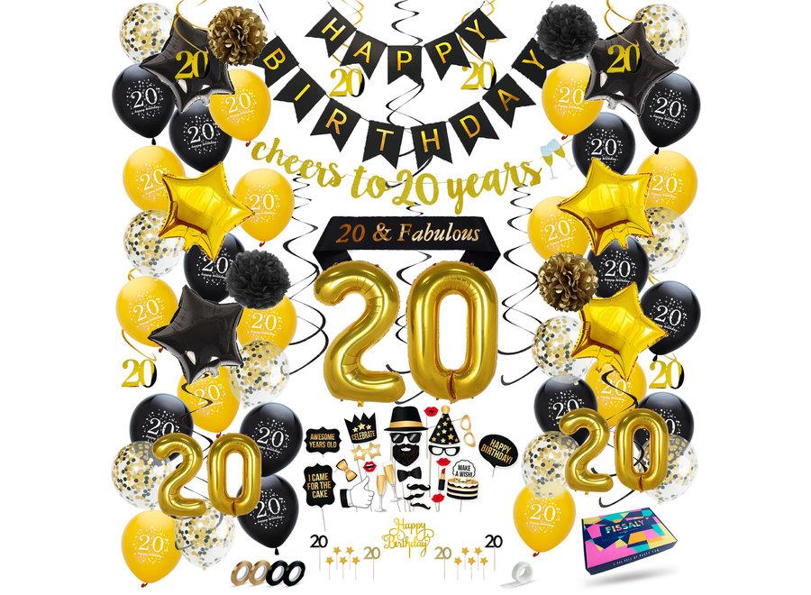 20 Jaar Verjaardag Decoratie Versiering - Ballonnen – Jubileum Man & Vrouw - Zwart en Goud