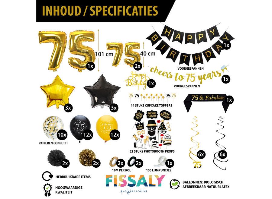 75 Jaar Verjaardag Decoratie Versiering - Ballonnen – Helium, Latex & Papieren Confetti Ballonnen- Zwart en Goud