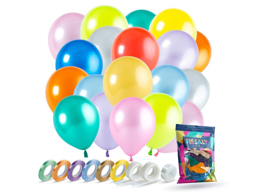120 Stuks Gekleurde Latex Helium Ballonnen met Accessoires - Multikleur