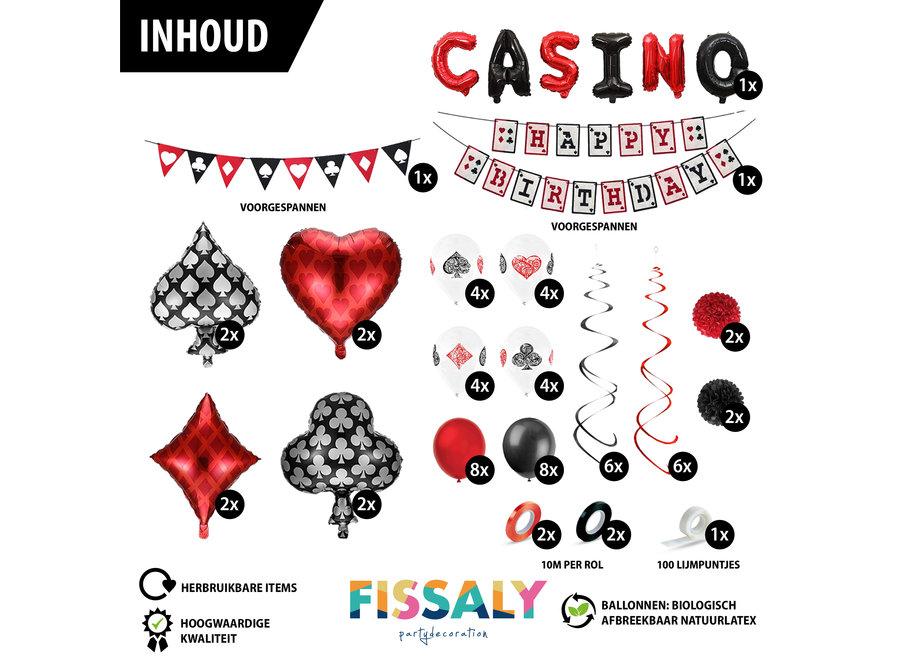 66 Stuks Las Vegas Casino Decoratie set – Poker Verjaardag Feest Versiering – Feestdecoratie