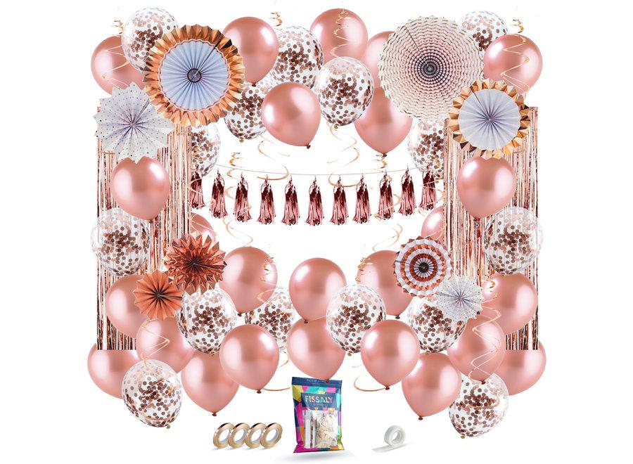 80 stuks Rose Goud XL Decoratie Feestpakket 2021