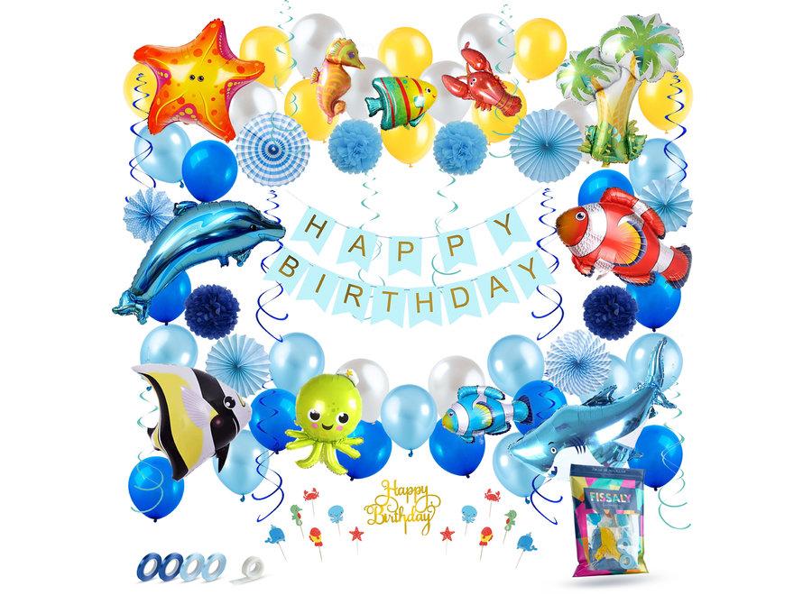 88 Stuks Zee Verjaardag Versiering Set – Oceaan Vissen Feest Decoratie