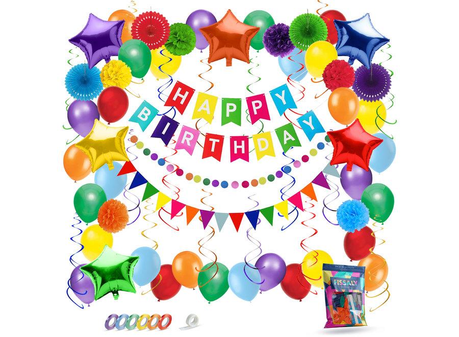 74 Stuks Gekleurde Happy Birthday Decoratie Versiering