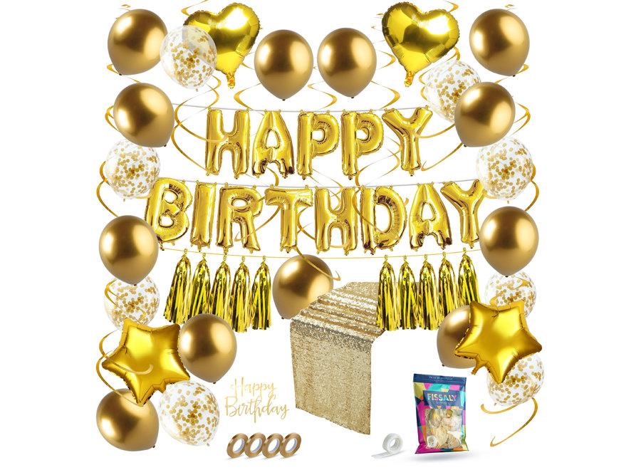 45 Stuks Gouden Verjaardag Decoratie Versiering met Ballonnen