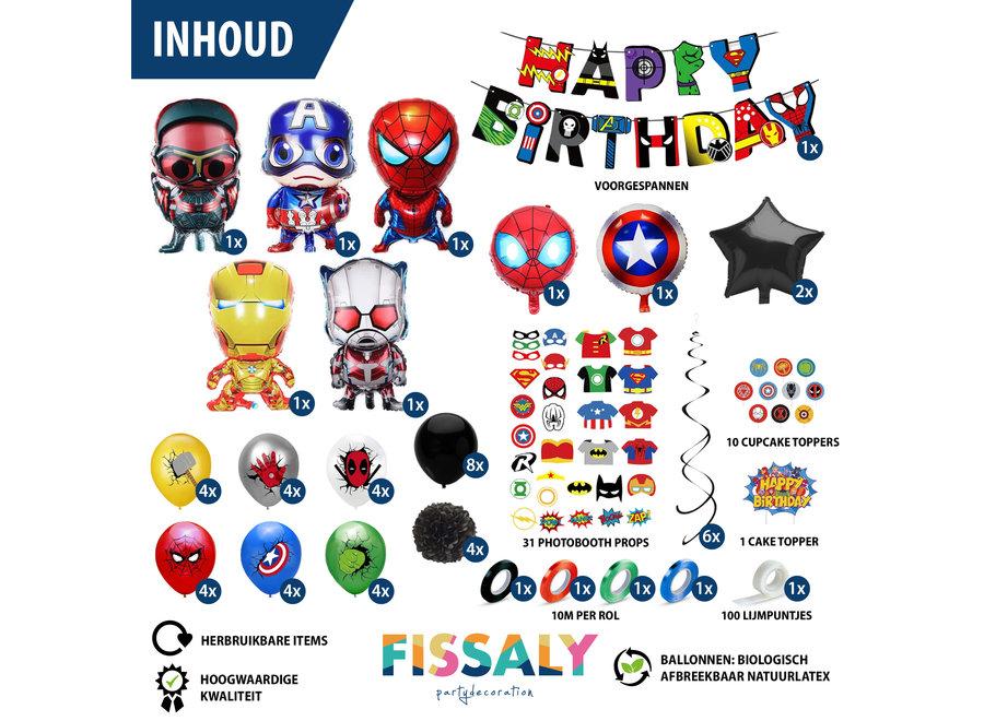 99 Stuks Superhelden Feest Versiering – Kinderfeestje Decoratie – Superheroes Themafeest Verjaardag - Feestje