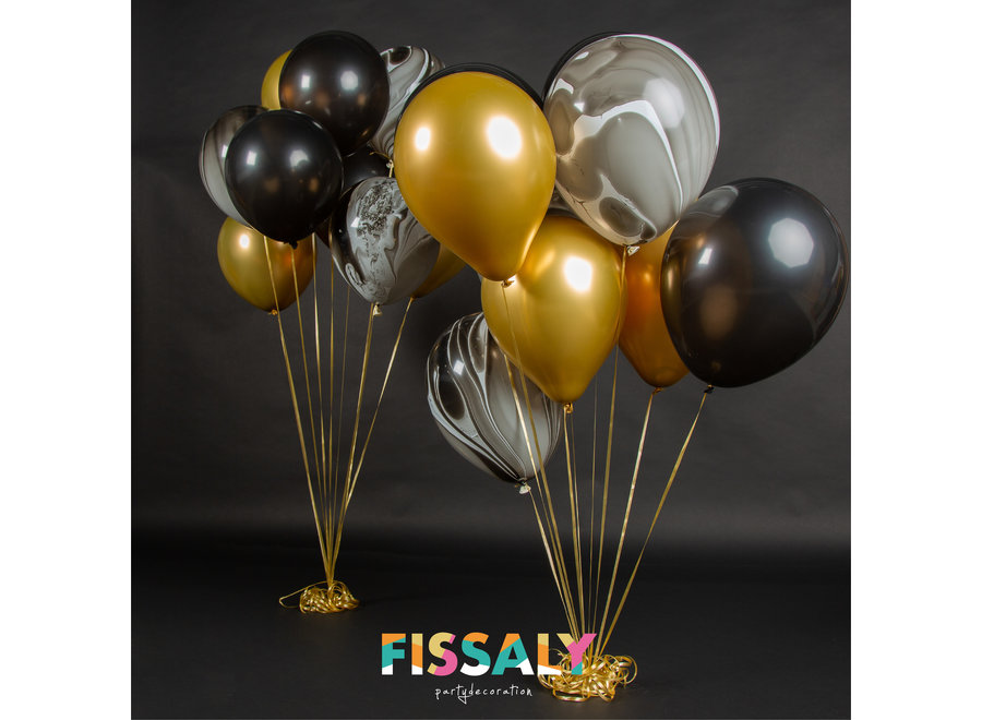 40 stuks Metallic Chrome Goud, Zwart & Marmer Helium Ballonnen met Accessoires – Decoratie – Latex