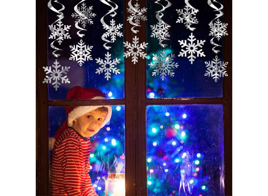 30 Stuks Sneeuwvlok Slingers Winter Versiering & Kerst Raam Decoratie – Kerstversiering voor Binnen
