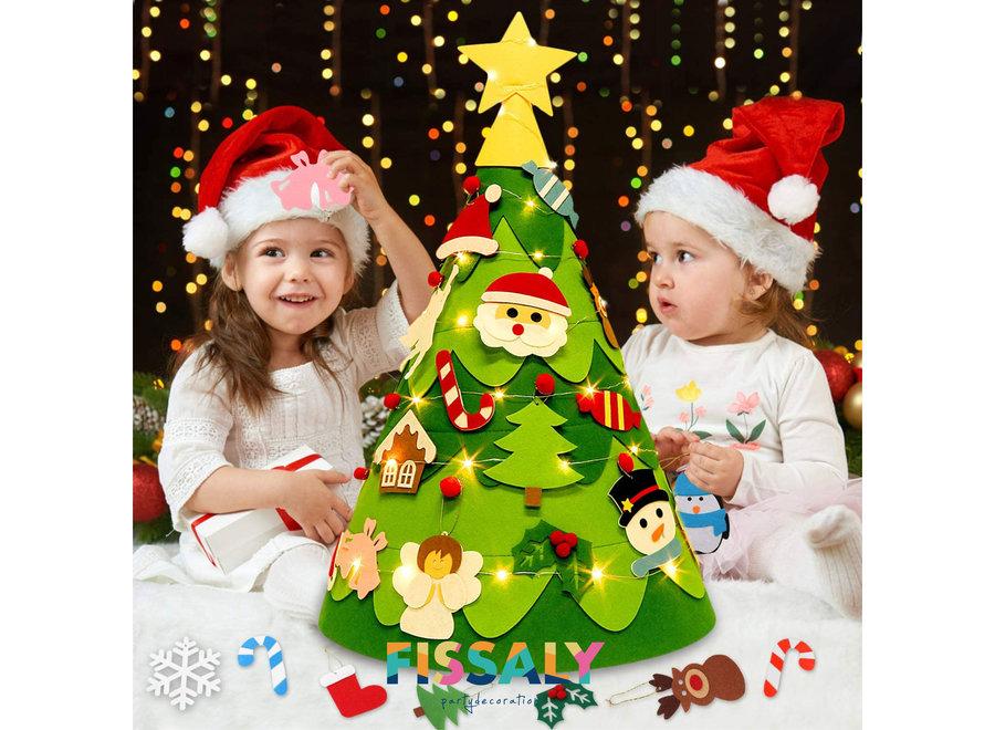 Kerstversiering Set met Vilten Kinder Kerstboom, Kerst Versieringen, Kerstverlichting & Merry Christmas Slinger