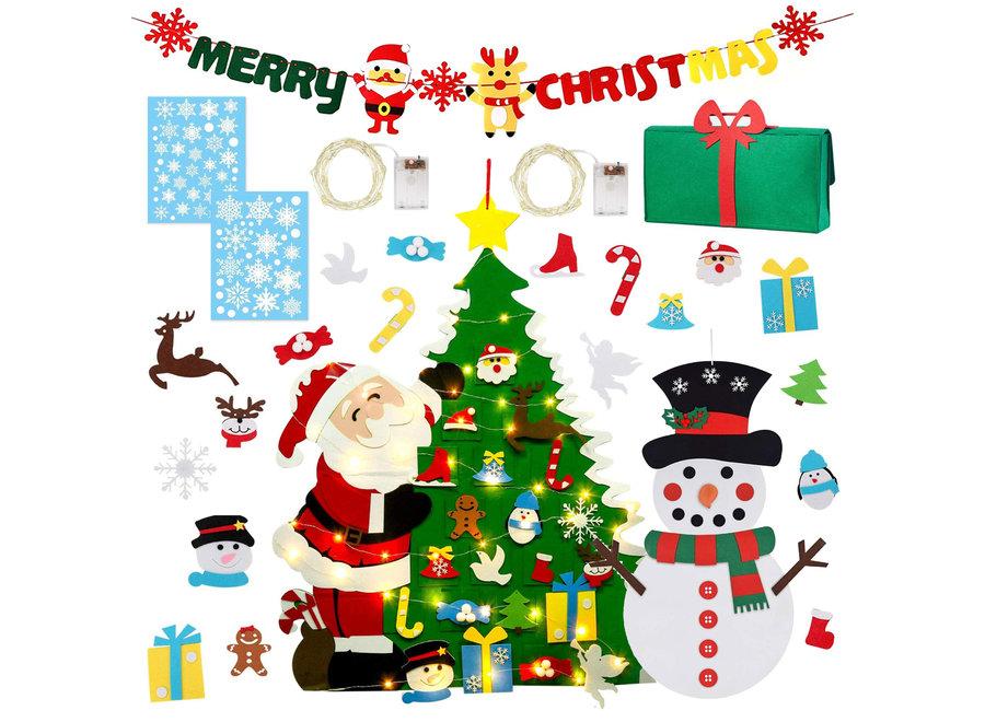 XXL Kerstversiering Set met Vilten Kinder Kerstboom & Sneeuwpop, Kerst Versieringen, Kerstverlichting & Merry Christmas Slinger