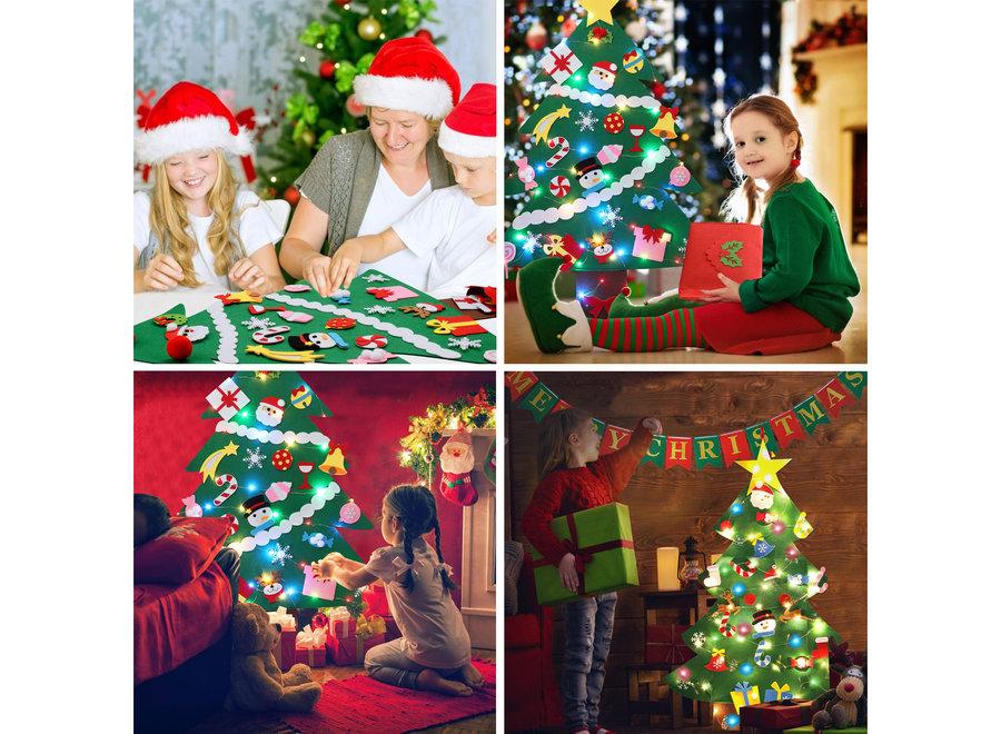 Kerstdecoratie Set inclusief Vilten Kinder Kerstboom, Versieringen, Verlichting & Merry Christmas Slinger