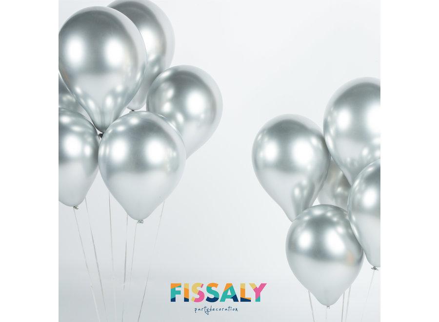 40 stuks Zilveren Chrome Helium Latex Ballonnen met Lint
