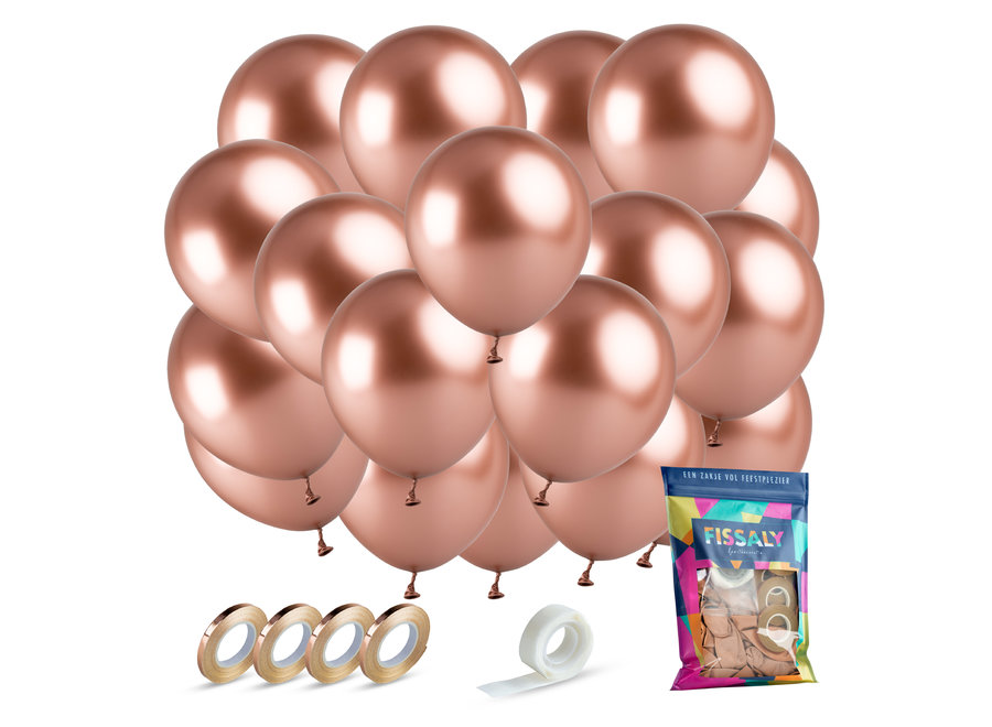 40 stuks Metallic Rose Goud Helium Latex Ballonnen met Lint