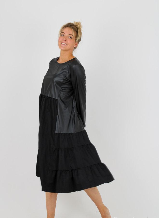 Dress mix faux leather