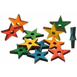 Zoo-Max 12st Houten sterren, Mix Color
