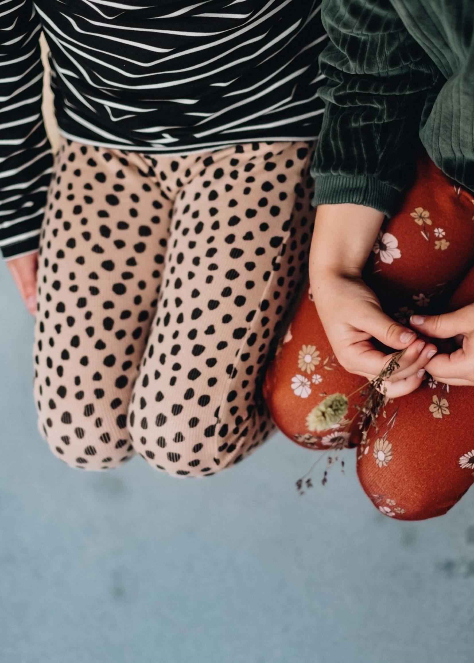 Blossom Kids Legging, rib, Animal Dot, Warm Sand