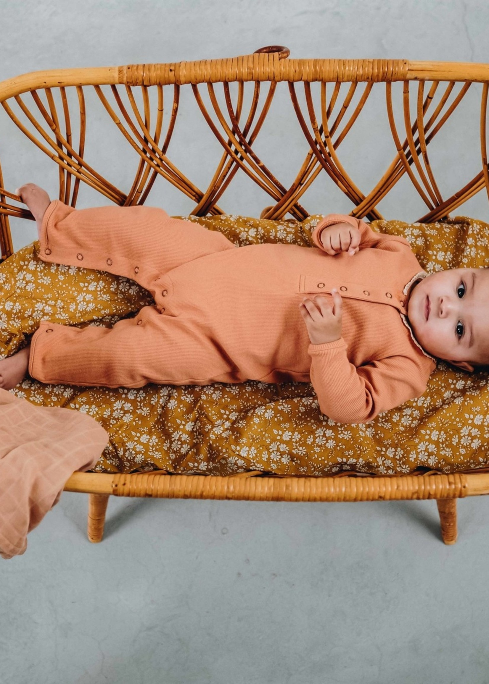 Blossom Kids Playsuit with lace, Deep Toffee