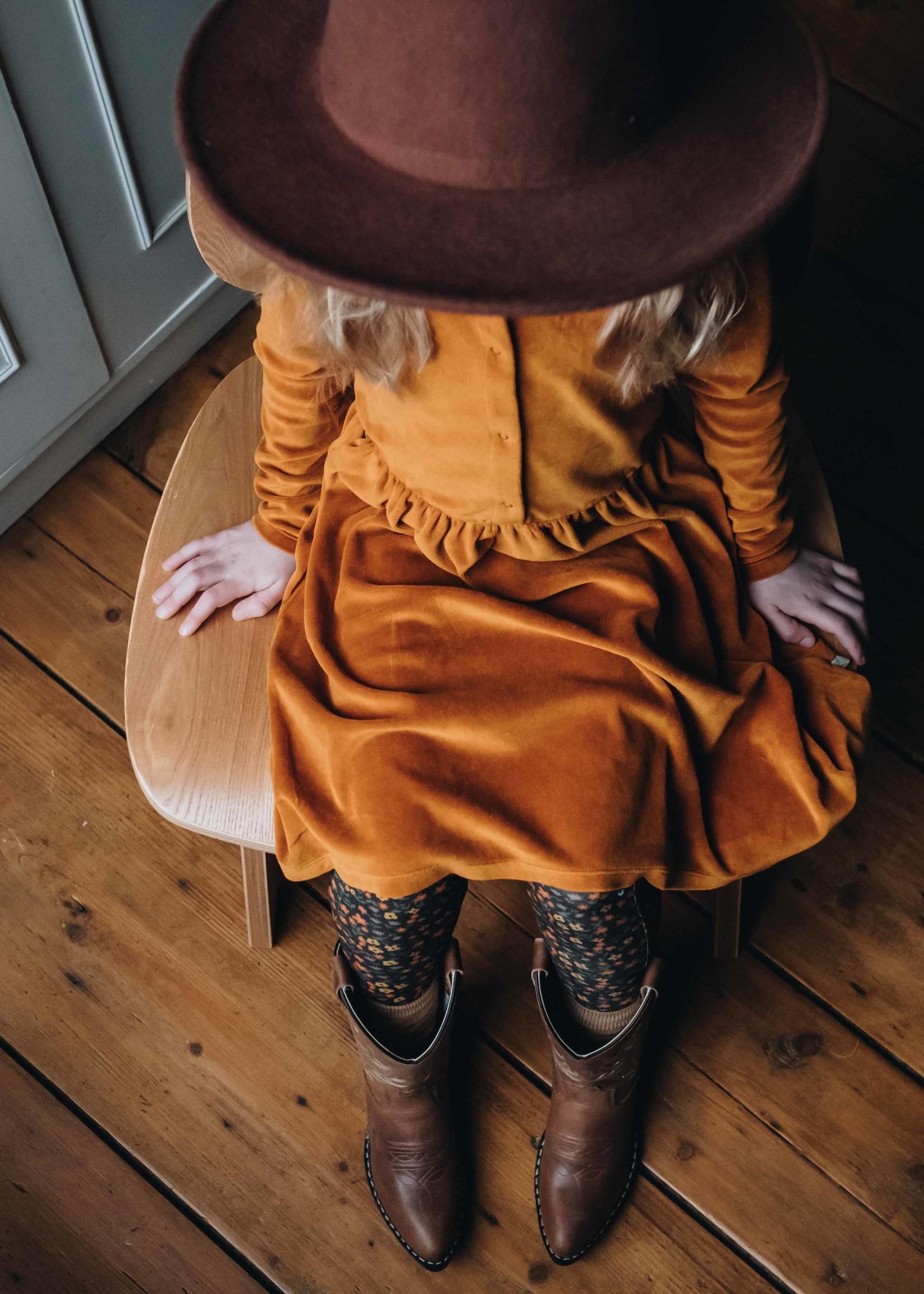Blossom Kids Velvet dress - Golden