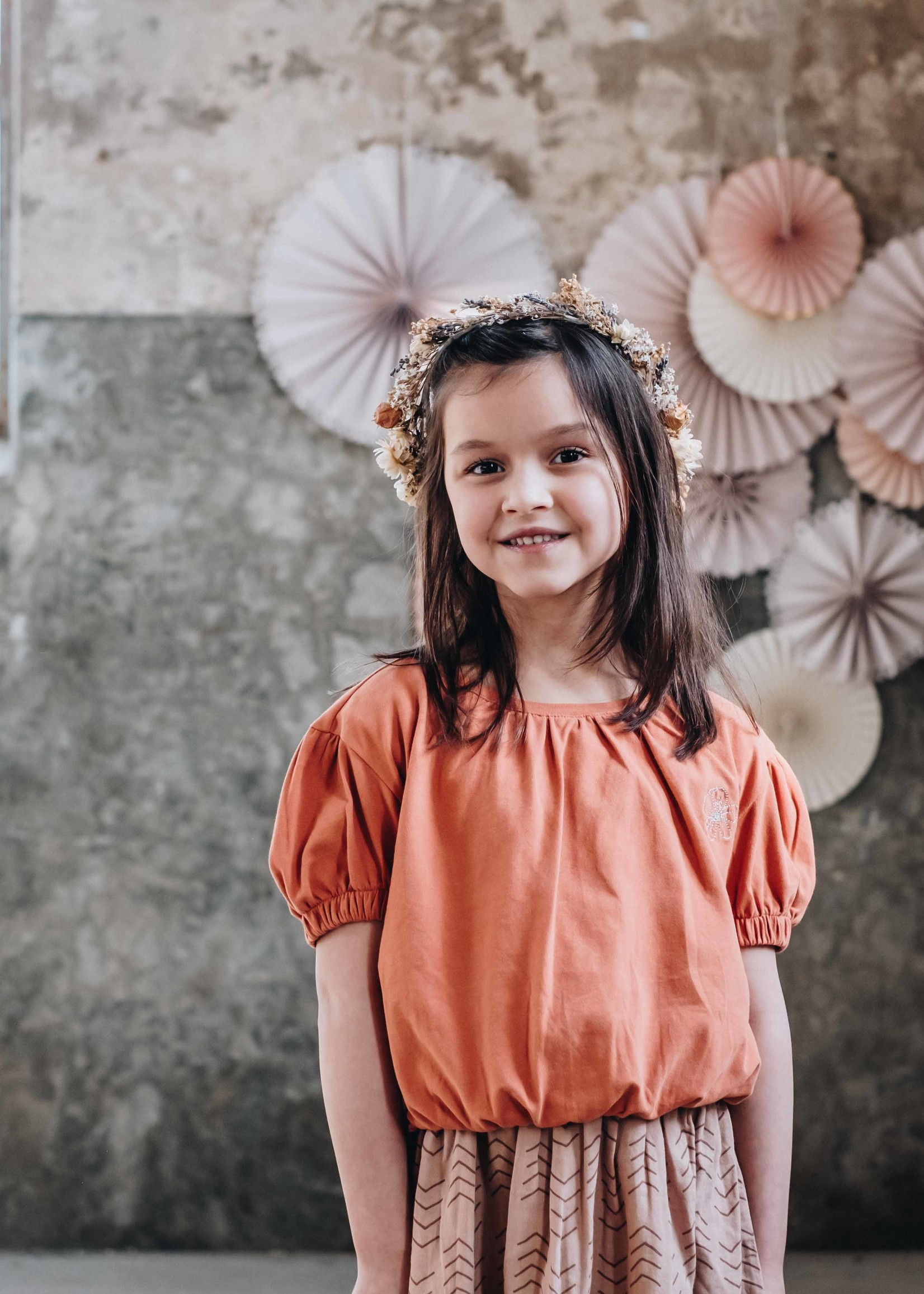 Blossom Kids Cropped top with embroidery - Dusty Coral