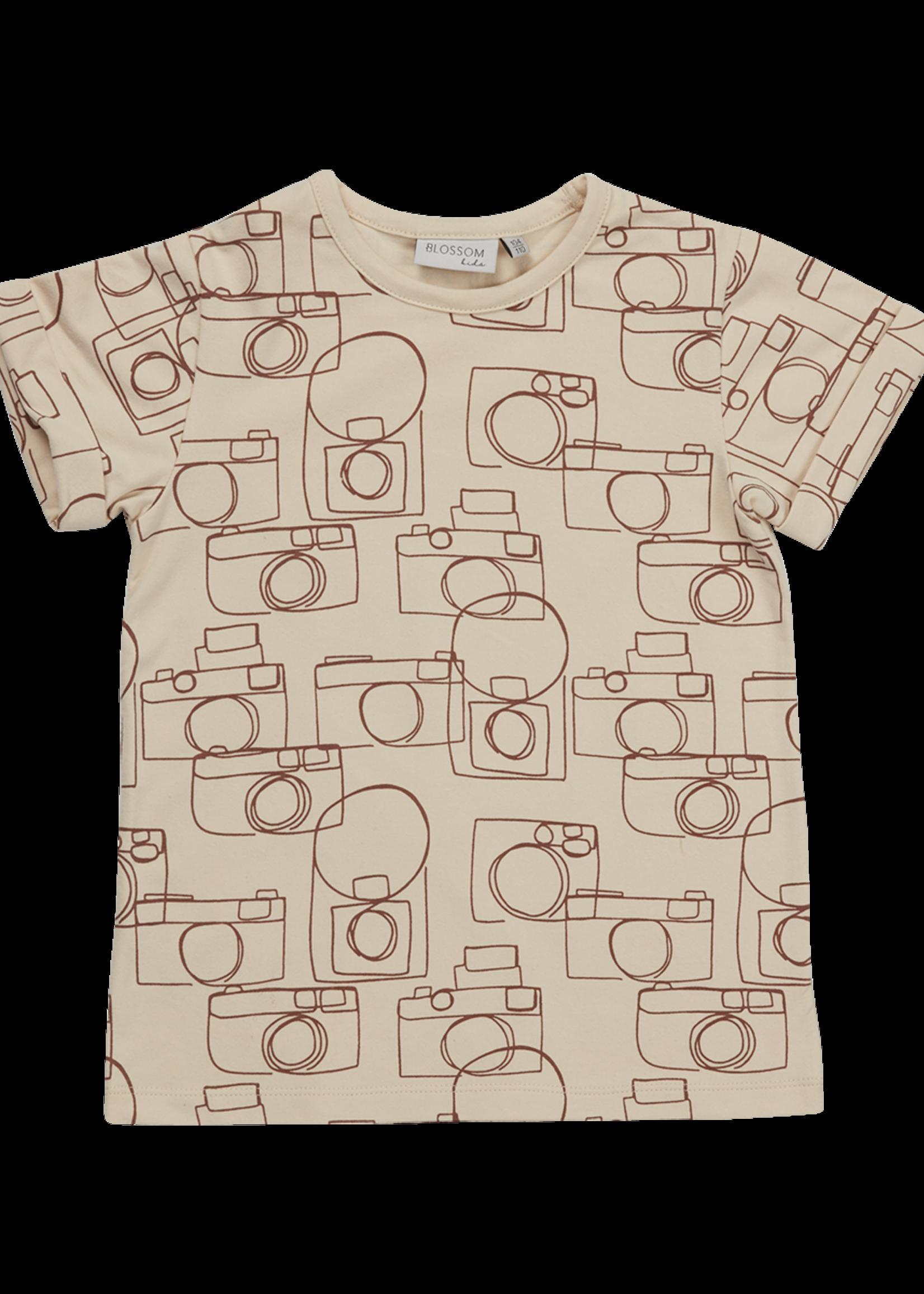 Blossom Kids T-shirt Camera Chaos - Soft Sand