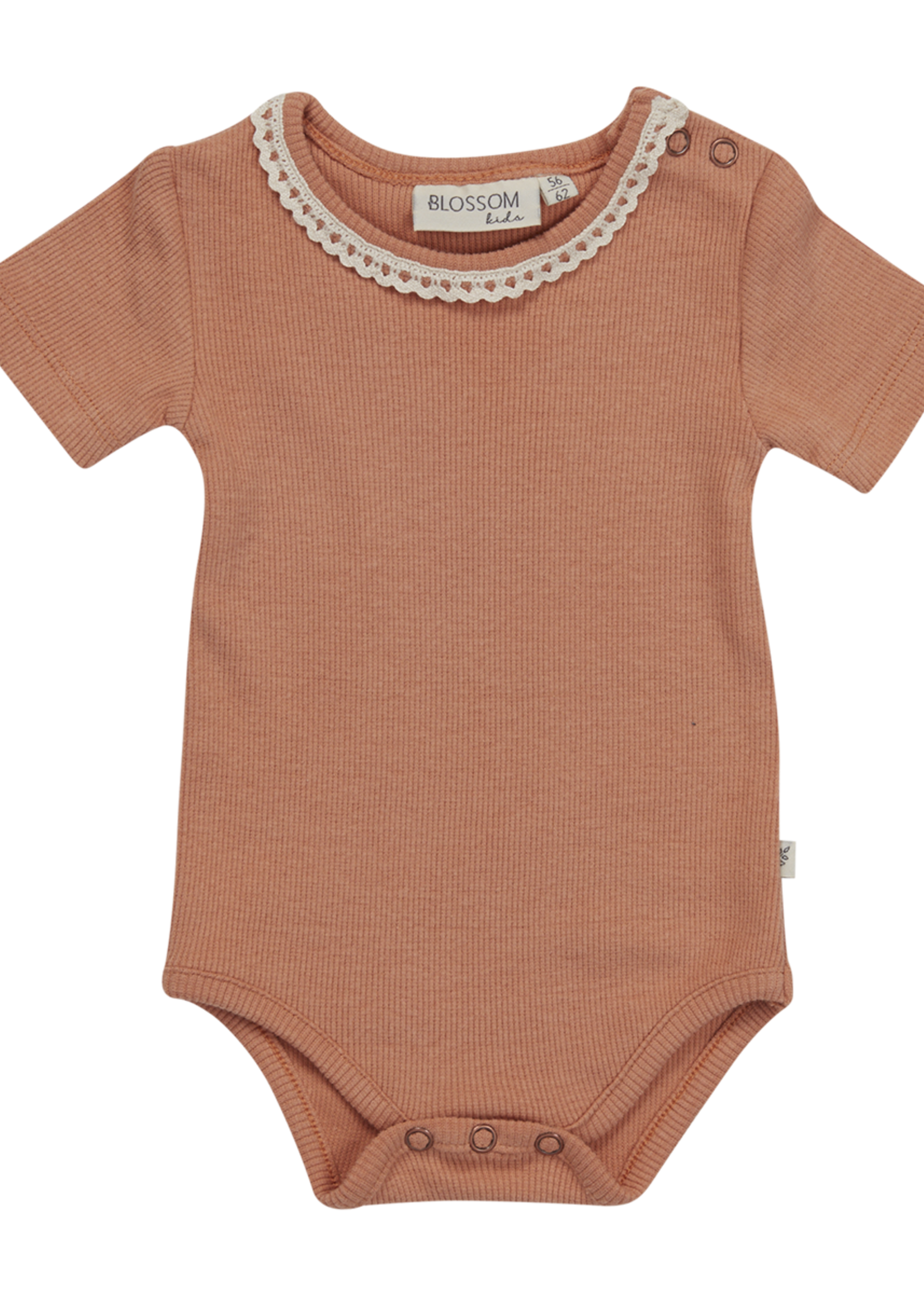 Blossom Kids Body short sleeve with lace - soft rib - Deep Toffee