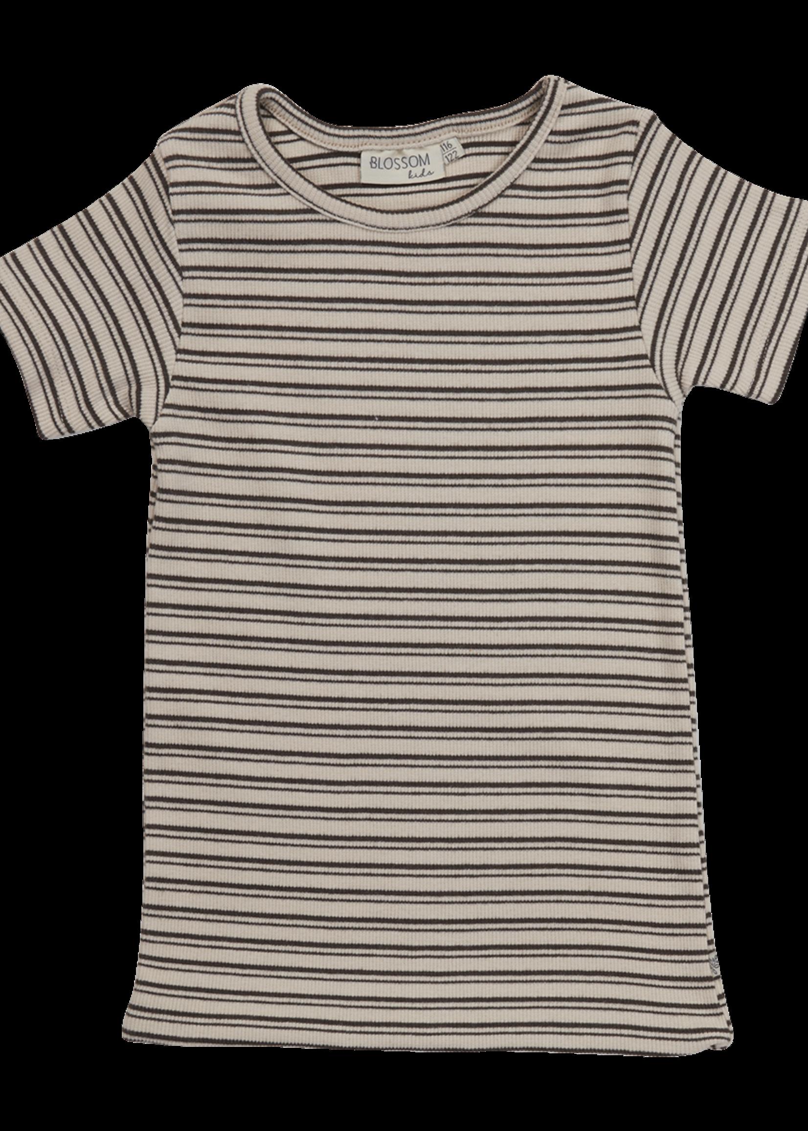 Blossom Kids Short sleeve shirt - Stripes - Cinnamon