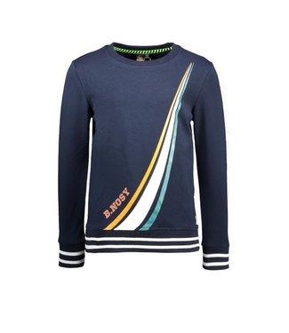B.Nosy B.Nosy Boys sweater met gekleurde strepen oxford blue