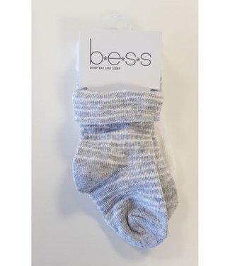 Bess BESS sokjes 2-pack grijs en wit 1045