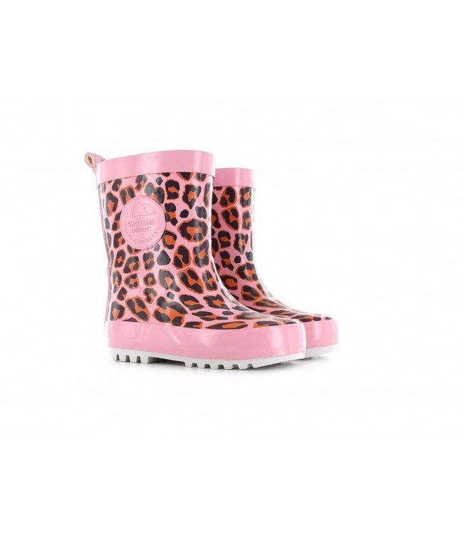 Shoesme Shoesme regenlaars met allover luipaardprint Roze