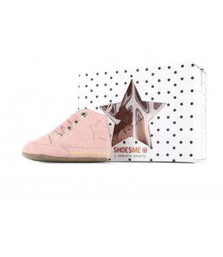 Shoesme Shoesme roze babyslofje met (nep)bontvoering