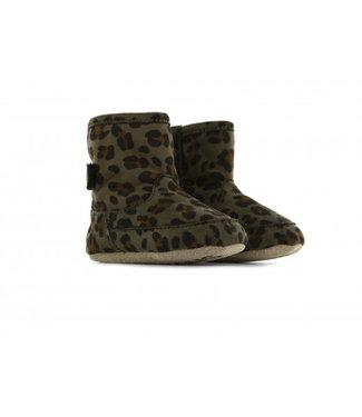 Shoesme Shoesme babylaars-slofje met groene luipaardprint