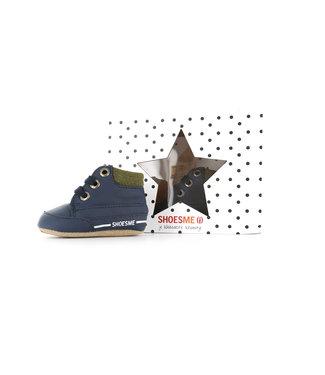 Shoesme Shoesme blauwe babyslofjes met vetersluiting