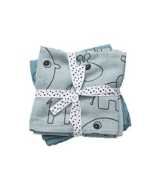 Done by Dear Done by Dear Swaddle, 2-pack Contour blue 120x120