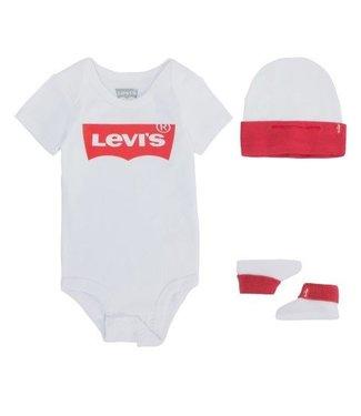 Levi's Levi's baby kadoset 3 delig romper, mutsje en sokjes wit LL0019-U001