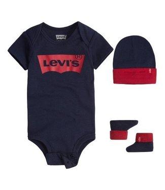 Levi's Levi's baby kadoset 3 delig romper, mutsje en sokjes donker blauw LL0019-U09