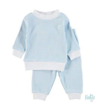 Feetje Feetje Pyjama wafel in azuur groen met witte achtergrond 305.532