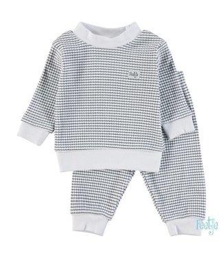 Feetje Feetje Pyjama wafel marine met witte achtergrond 305.532