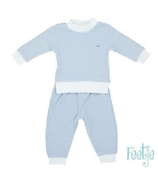 Feetje Feetje Pyjama wafel in blauw met wit ondergrond 305.532