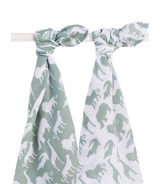 Jollein Jollein Hydrofiel multidoek 115x115cm Safari forest green (2pack)