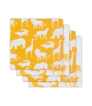 Jollein Jollein Hydrofiel luier Safari oker geel (4pack) 65x65