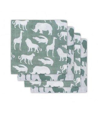 Jollein Jollein Hydrofiel luier Safari forest green (4pack) 65x65